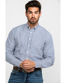 Resistol Men's Irish Draught Striped Long Sleeve Western Shirt , Blue, hi-res