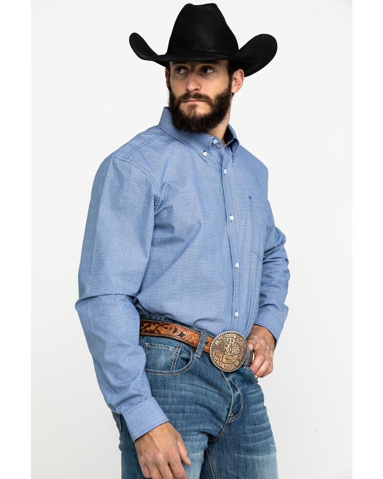 Cody James Core Men's Westin Geo Print Long Sleeve Western Shirt , Blue, hi-res