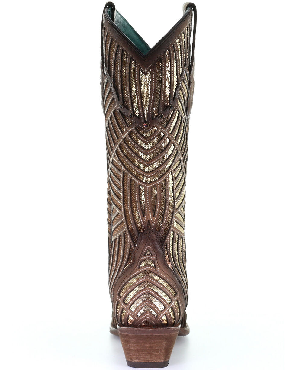 Corral Women's Gold Bright Inlay Western Boots - Snip Toe, Gold, hi-res