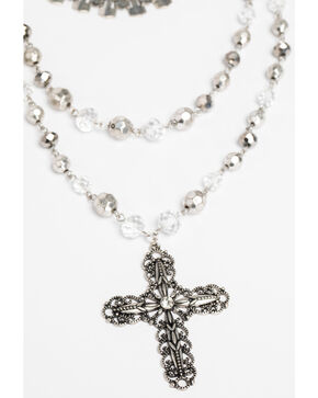 Shyanne Women's Cross Clear Multi-Layered Beaded Necklace Set, Silver, hi-res