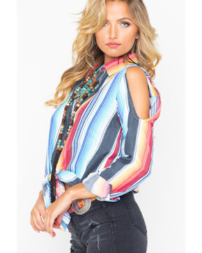 Rock & Roll Cowgirl Women's Serape Cold Shoulder Western Shirt, Multi, hi-res