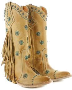 Old Gringo Women's Savannah Straw Western Boots - Round Toe, Tan, hi-res