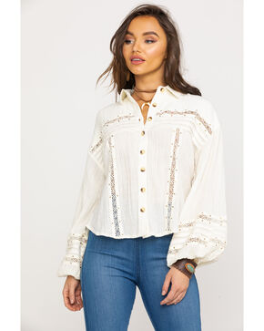 Free People Women's Summer Stars Button Top, Ivory, hi-res