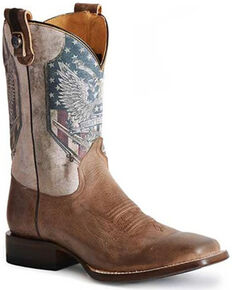 Roper Men's 2nd Amendment Western Boots - Wide Square Toe, Brown, hi-res