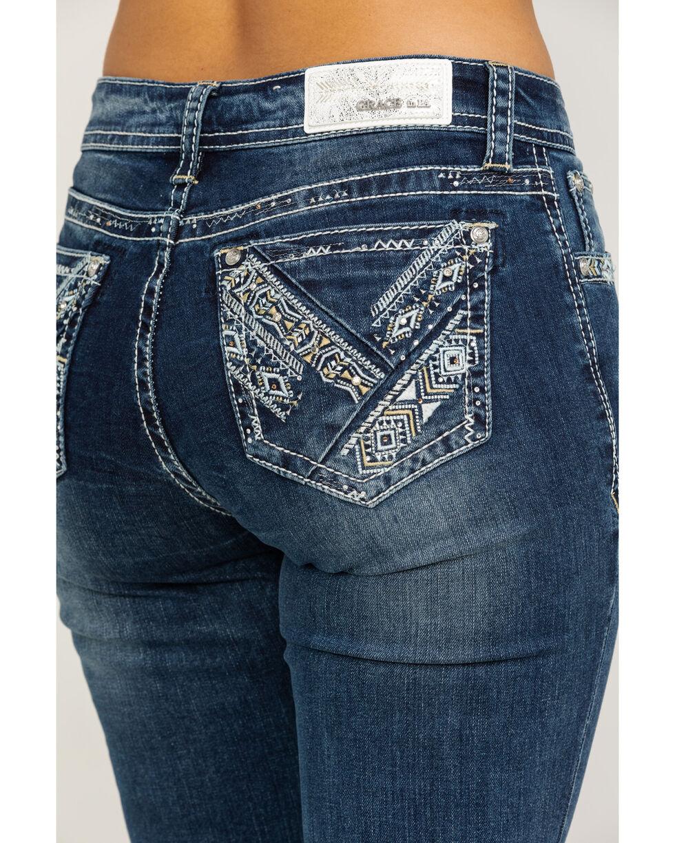 Grace in LA Women's Light Wash Mid-Rise Aztec Pocket Bootcut Jeans , Blue, hi-res