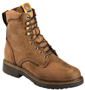 "Justin Men's J-Max 8"" Balusters Aged Bark EH Waterproof Work Boots - Soft Toe, Aged Bark, hi-res"