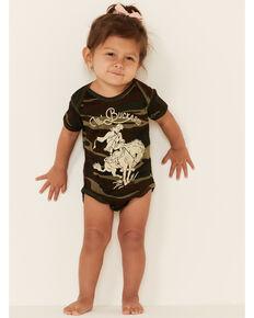 Rodeo Quincy Infant Girls' Camo Print Lil Buckaroo Graphic Short Sleeve Onesie , Camouflage, hi-res