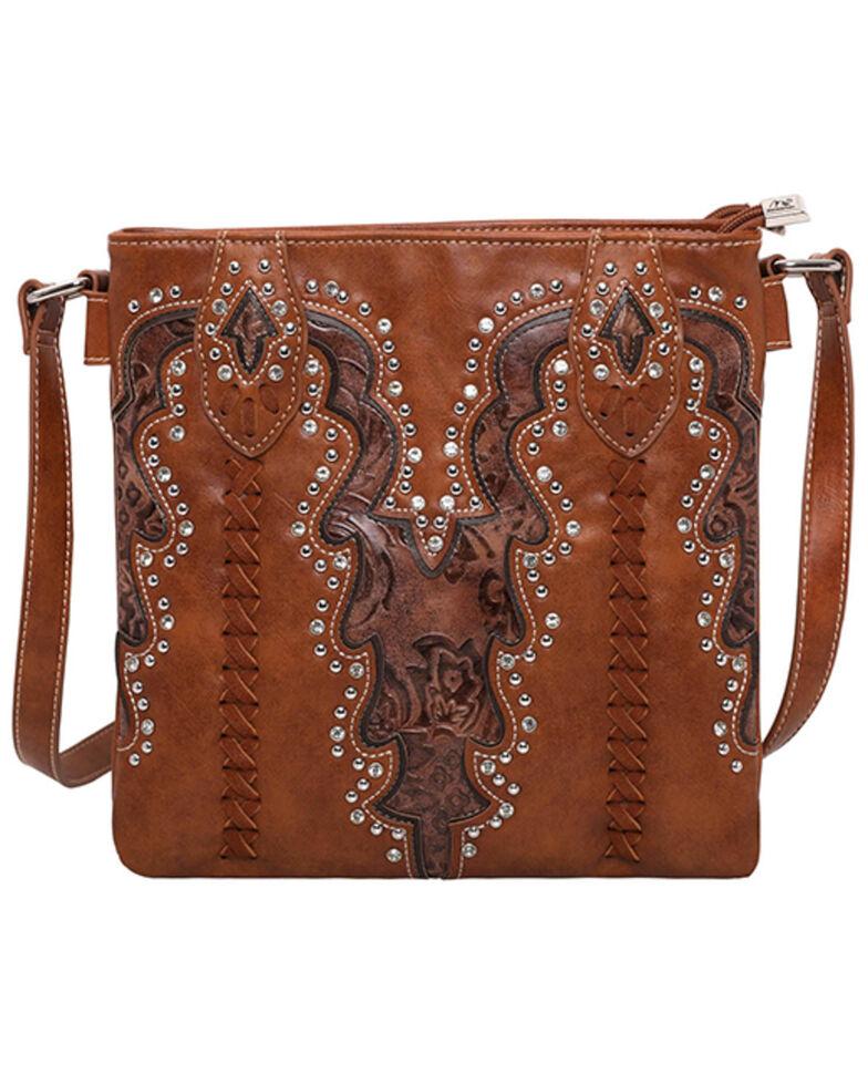 Montana West Women's Boot Scroll Travel Bag, Brown, hi-res