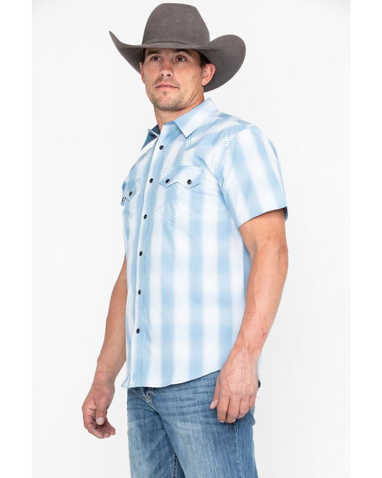 Cody James Men's Still Waters Ombre Plaid Short Sleeve Western Shirt - Tall , Light Blue, hi-res