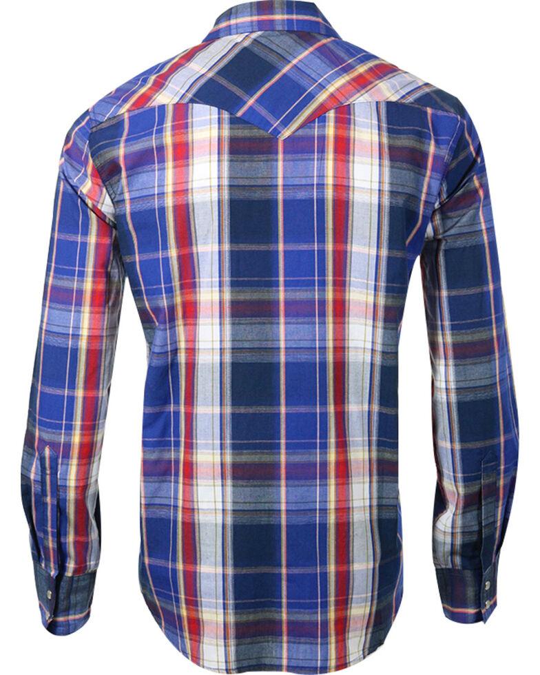 Levi's Men's Blue Plaid Pearl Snap Long Sleeve Shirt, Blue, hi-res