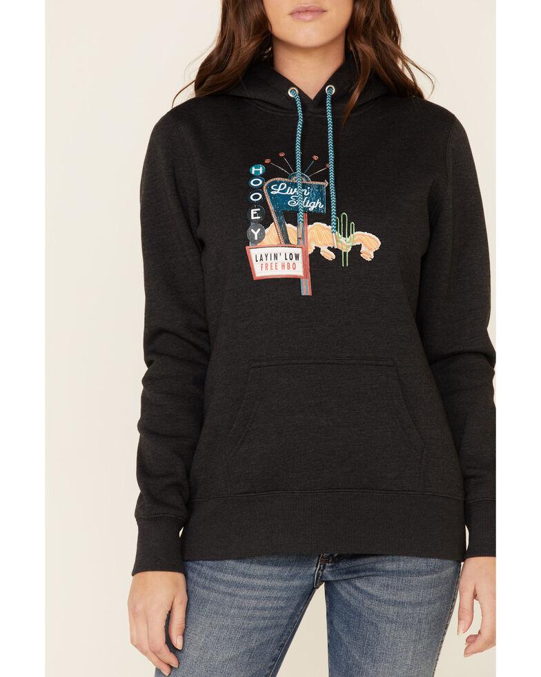 HOOey Women's Charcoal Layin Low Logo Graphic Hoodie, Charcoal, hi-res