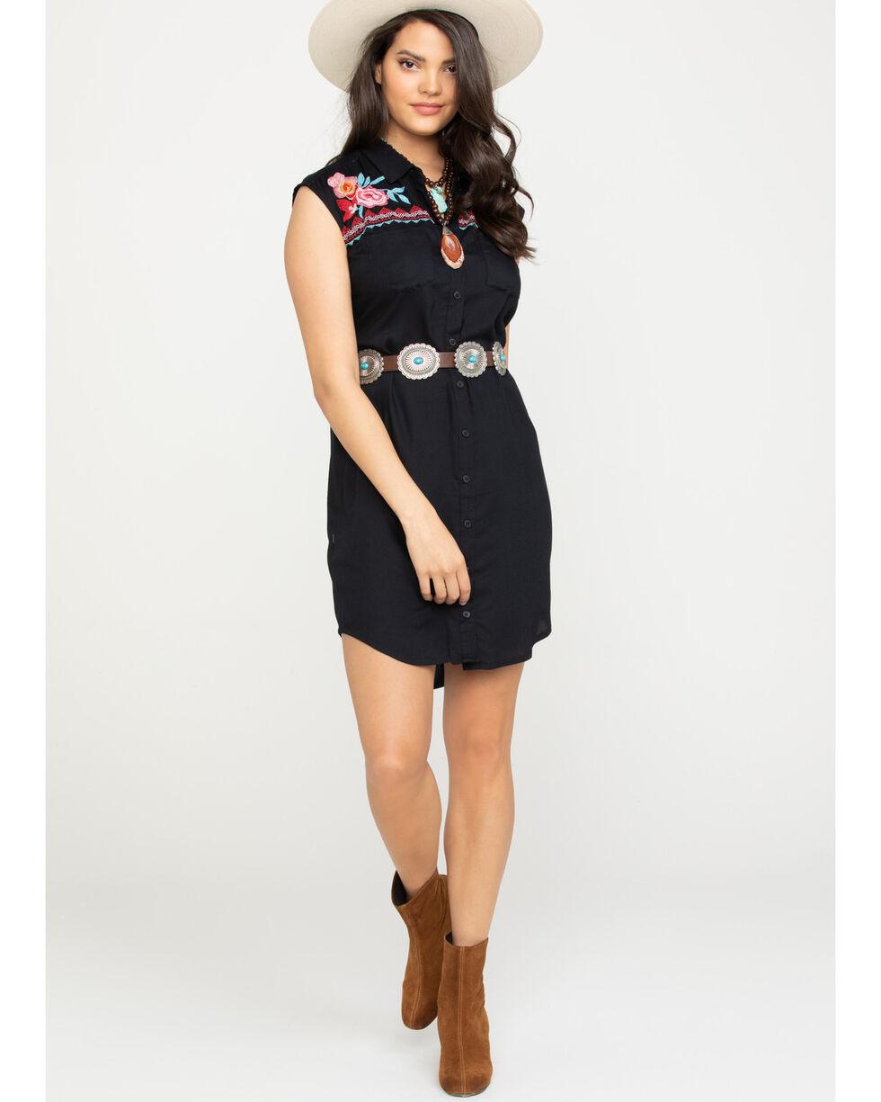 Studio West Women's Floral Embroidered Button Down Dress, Black, hi-res