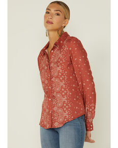 Idyllwind Women's Paisley Button Front Top, Chilli, hi-res