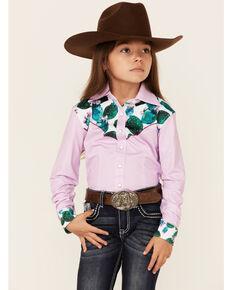 Ranch Dress'n Girls' Pink Cactus Yoke Long Sleeve Snap Performance Rodeo Shirt , Pink, hi-res