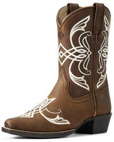 Ariat Girls' Fast Stepper Western Boots - Snip Toe, Brown, hi-res