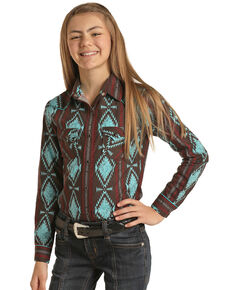 Rock & Roll Denim Girls' Brown Aztec Print Long Sleeve Snap Western Shirt , Brown, hi-res