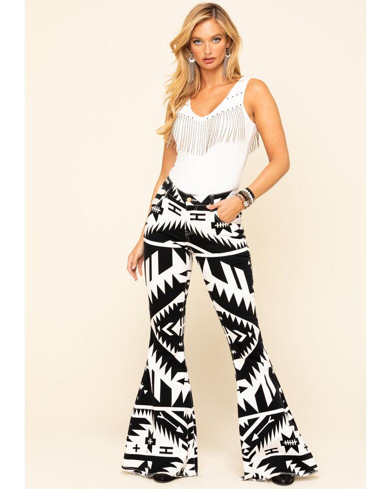 Ranch Dress'n Women's Black & White Aztec Super Flare Jeans , Black, hi-res