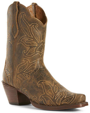 Ariat Women's Bellatrix Rock Ridge Western Booties - Snip Toe, Brown, hi-res