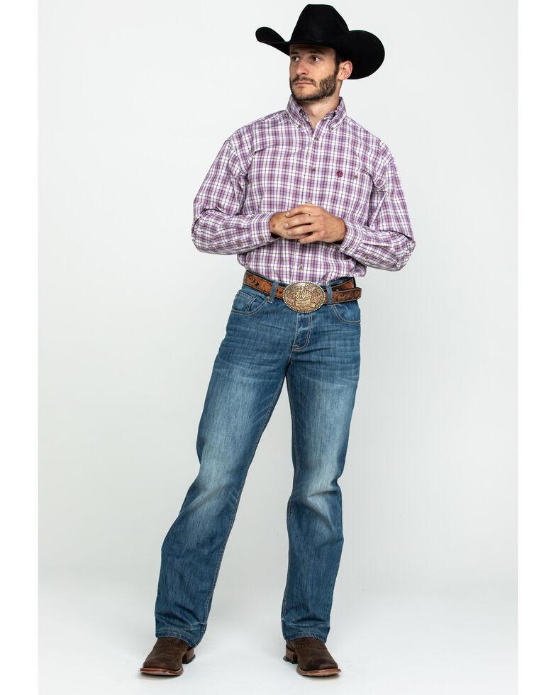 George Strait by Wrangler Men's Burgundy Med Plaid Long Sleeve Western Shirt , Burgundy, hi-res