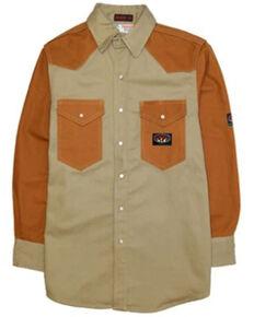 Rasco Men's FR Solid Two Tone Long Sleeve Snap Work Shirt , Beige/khaki, hi-res