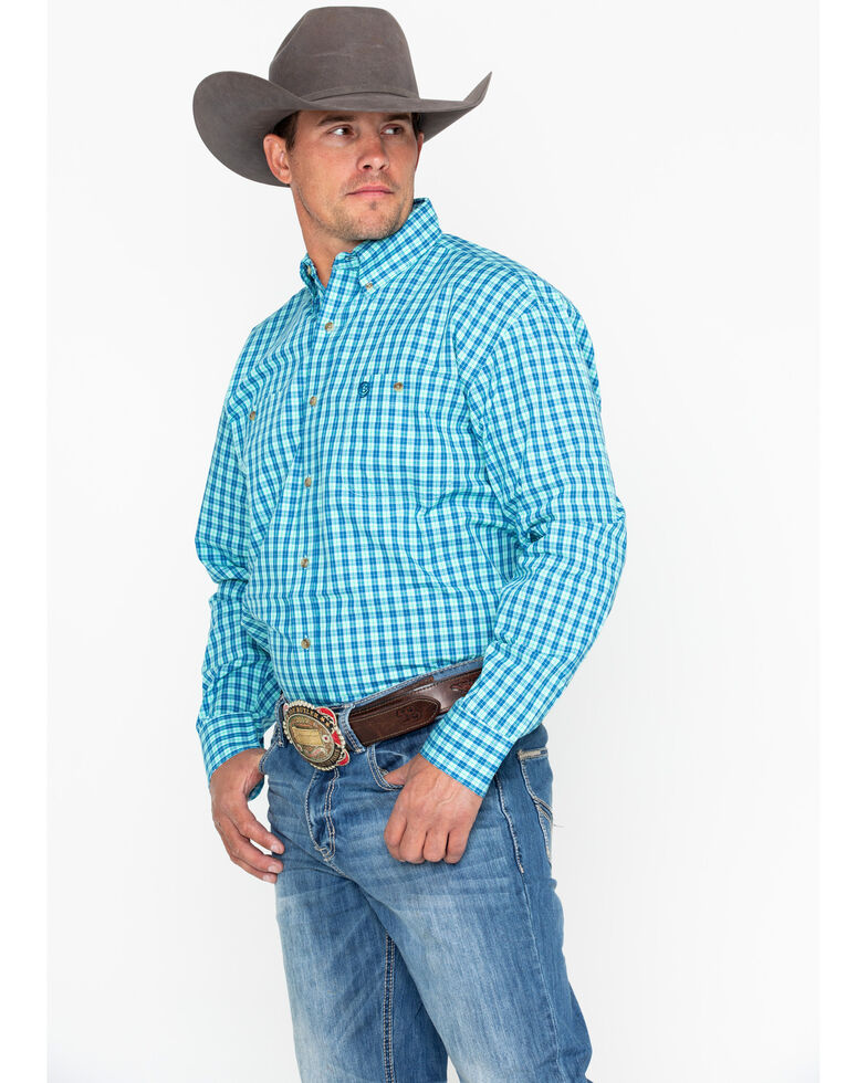 George Strait by Wrangler Men's Turquoise Small Plaid Long Sleeve Western Shirt, Turquoise, hi-res