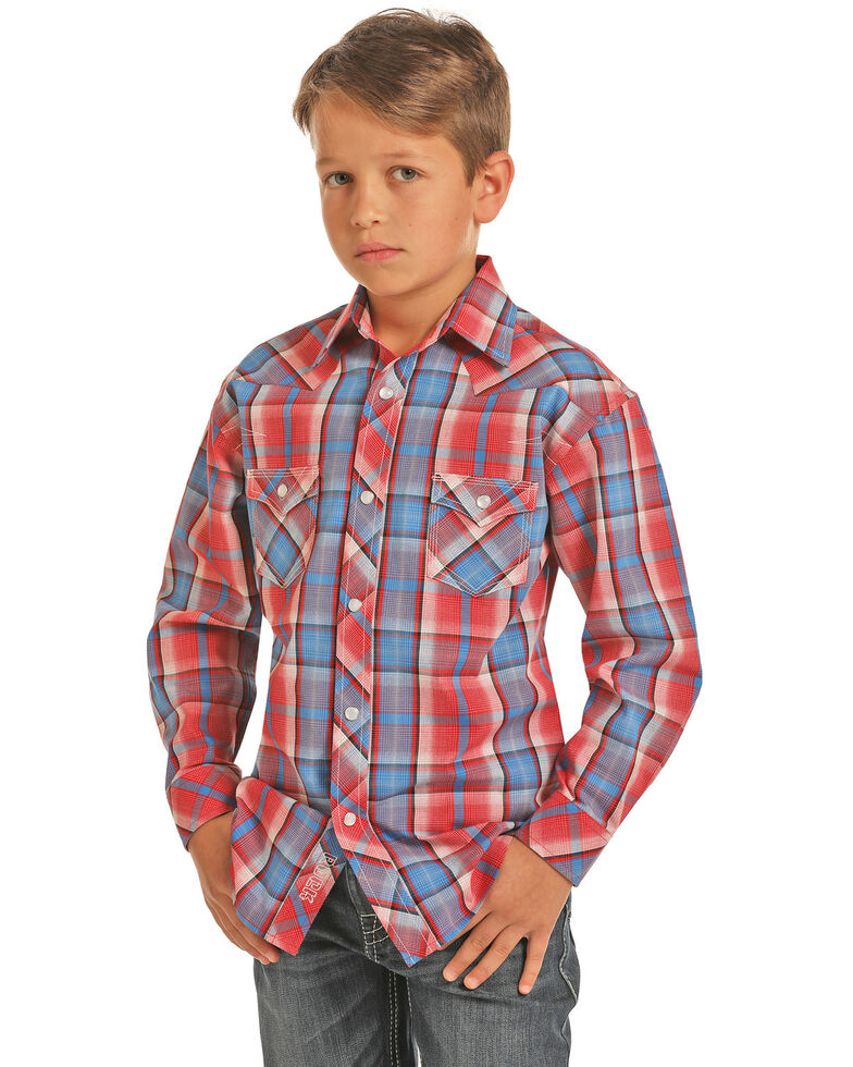937a655b Zoomed Image Rock & Roll Cowboy Boys' Plaid Snap Long Sleeve Western Shirt  , Red, hi