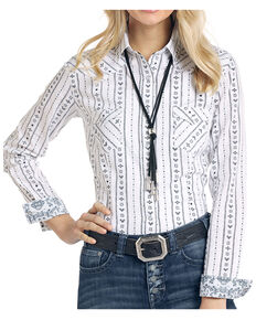 Rough Stock By Panhandle Women's Kaibab Aztec Dobby Print Long Sleeve Western Shirt , White, hi-res