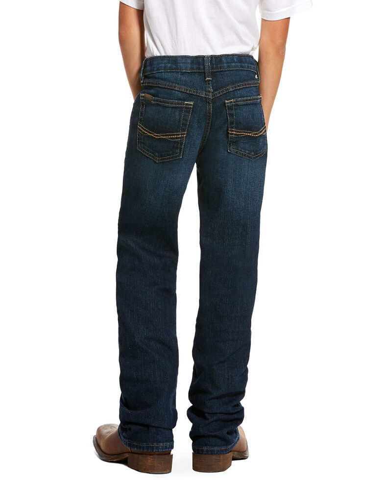 Ariat Boys' B4 Chief Legacy Pocket Stretch Relaxed Bootcut Jeans , Blue, hi-res
