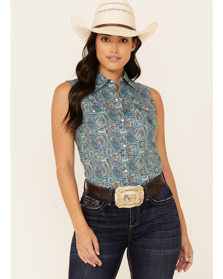 Amarillo Women's Sweet Water Mosaic Paisley Print Sleeveless Snap Western Shirt , Turquoise, hi-res