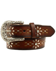 Idyllwind Women's Floral Tooled Belt, Brown, hi-res