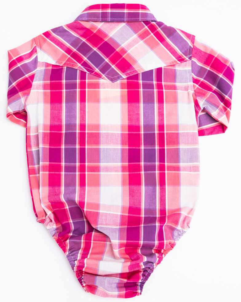 Shyanne Infant Girls' Pink & Purple Plaid Long Sleeve Western Onesie, Pink, hi-res