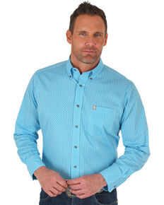 Wrangler Men's Turquoise Geo Print Performance Long Sleeve Western Shirt , Turquoise, hi-res