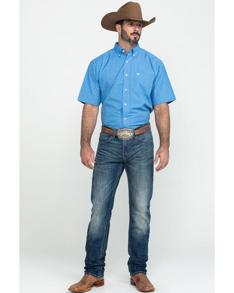 Ariat Men's Glendale Plaid Short Sleeve Western Shirt , Blue, hi-res