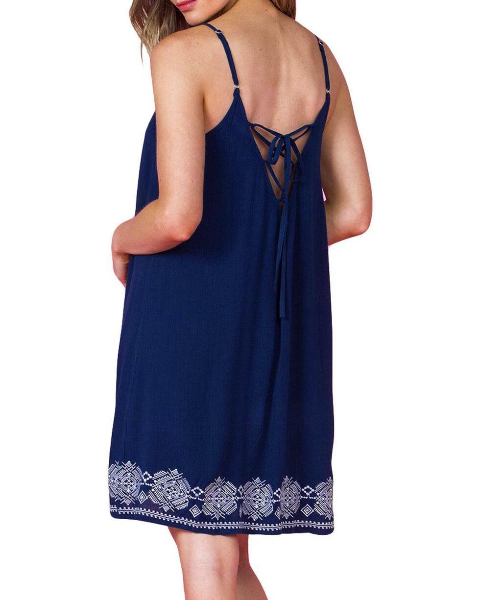 Miss Me Women's Navy Crochet Sundress , Navy, hi-res