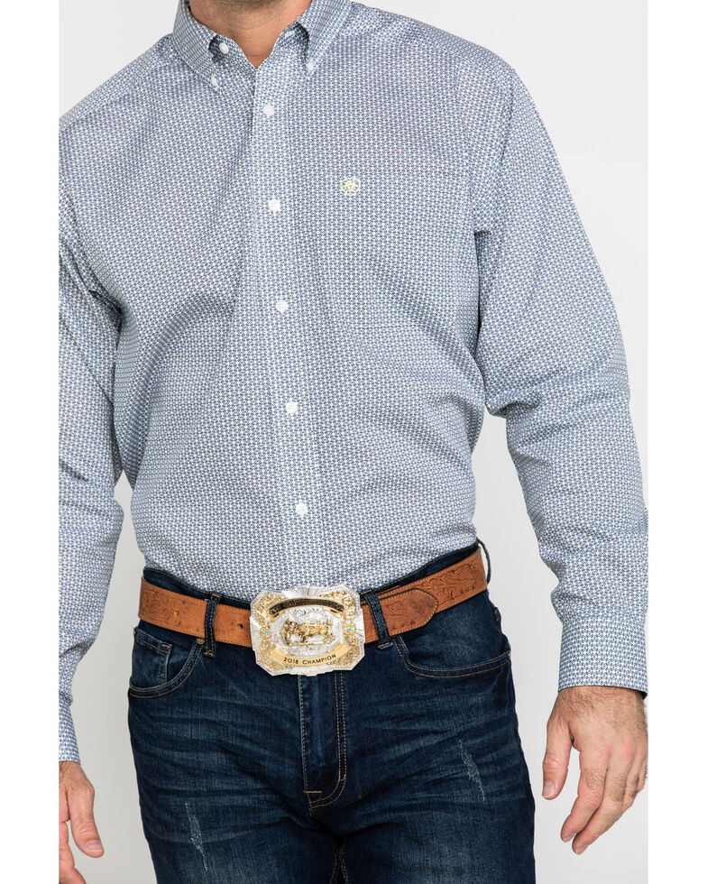 Ariat Men's Wrinkle Free Memphis Small Geo Print Long Sleeve Western Shirt - Tall , Multi, hi-res