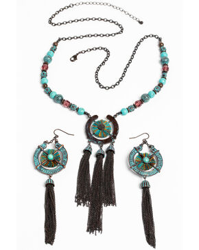 Shyanne Women's Patina Crescent 3 Tassel Necklace Set, Turquoise, hi-res
