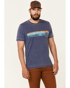Flag & Anthem Men's Mountain Panorama Sunset Graphic Burnout Short Sleeve T-Shirt , Navy, hi-res