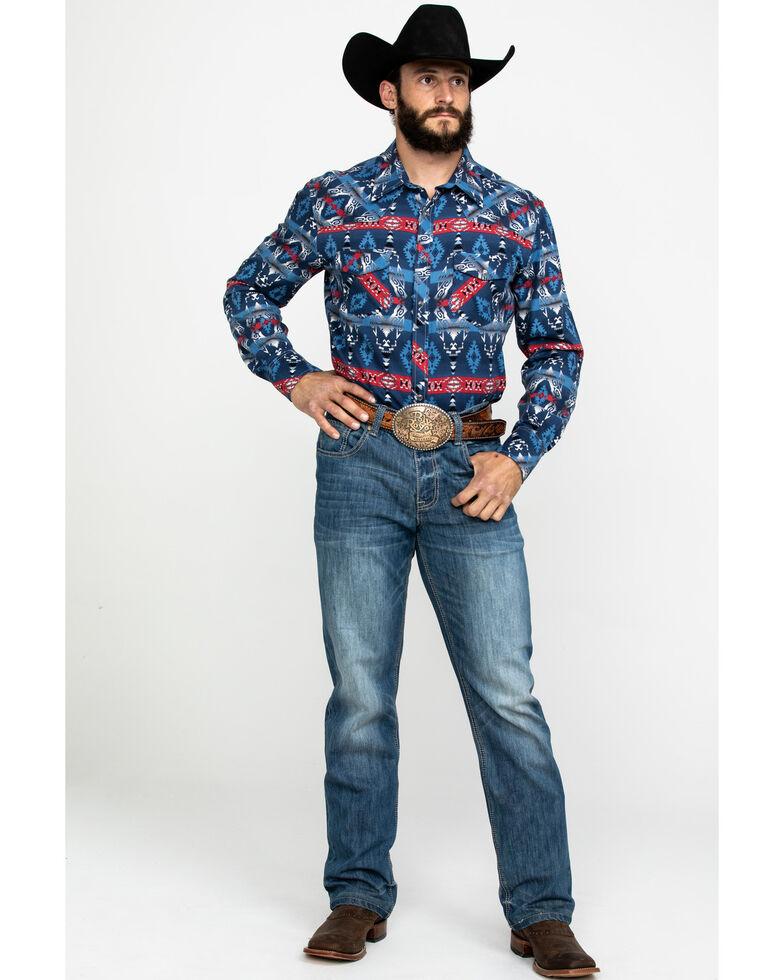 Dale Brisby Men's Enzyme Washed Aztec Print Long Sleeve Western Shirt , Indigo, hi-res