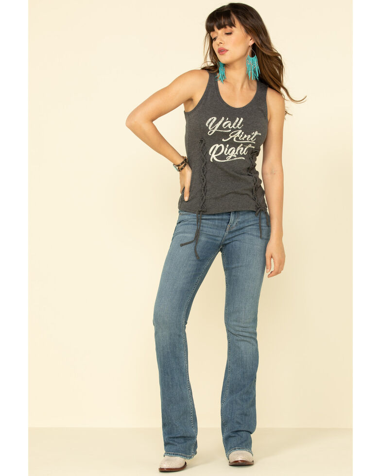 Idyllwind Women's Y'all Ain't Right Lace Up Front Tank Top, Charcoal, hi-res