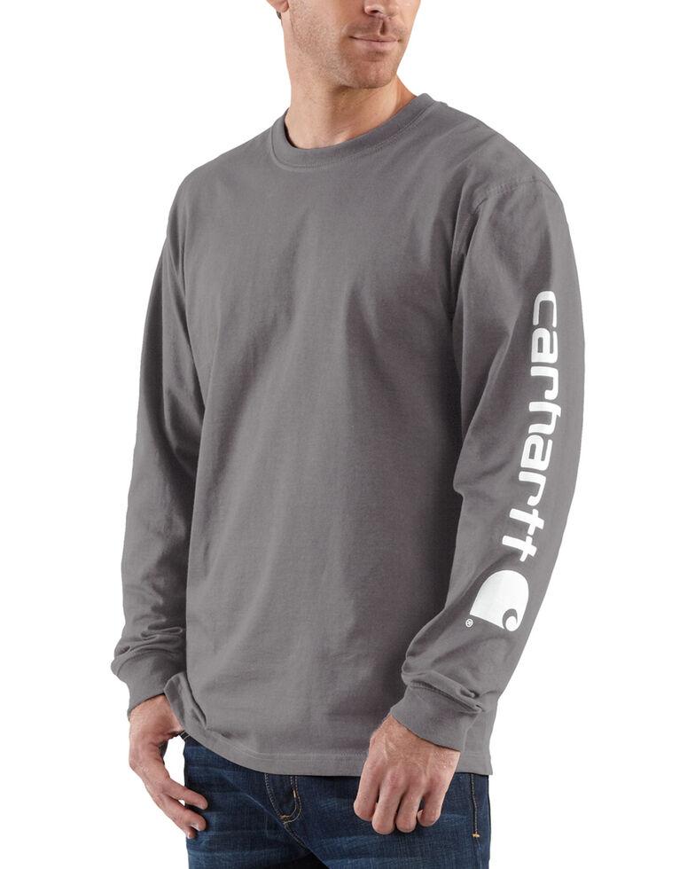 Carhartt Men's Signature Logo Sleeve Knit Work T-Shirt - Big & Tall, Charcoal Grey, hi-res