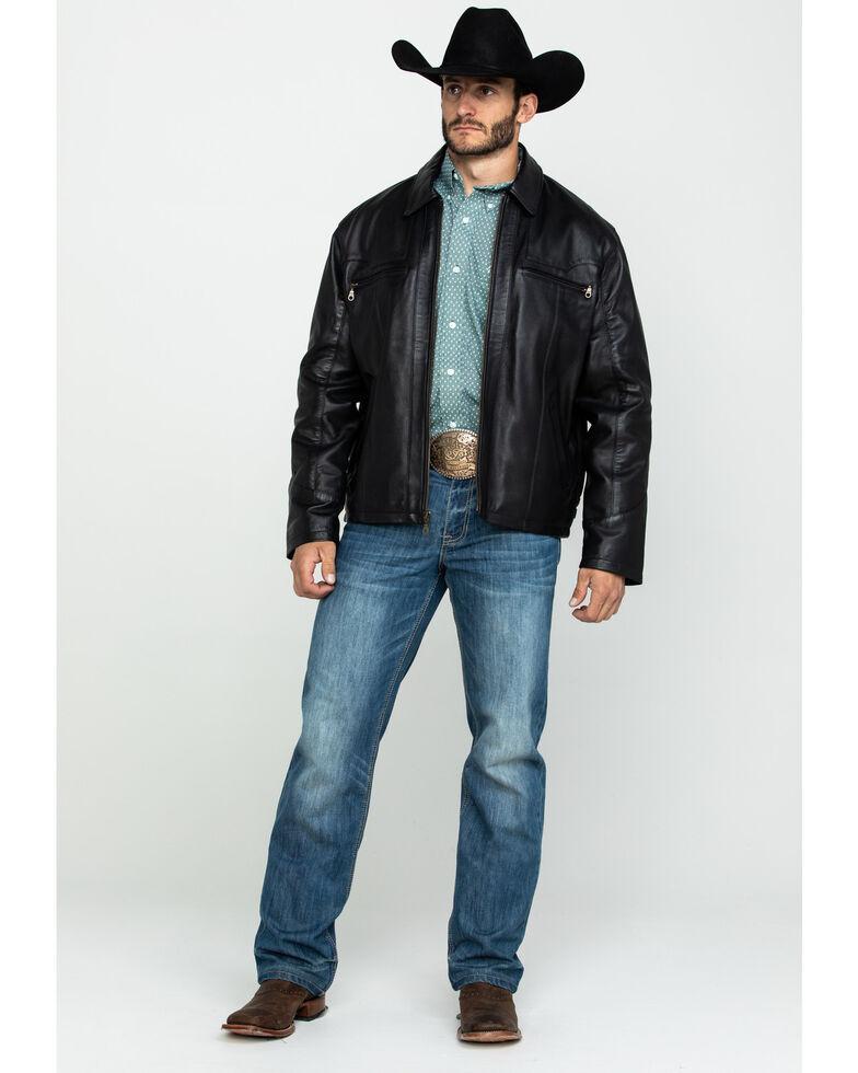 Cripple Creek Men's Zip Front Lamb Nappa Leather Jacket , Black, hi-res