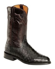 Lucchese Handmade Full Quill Ostrich Napoli Roper Cowboy Boots, Black, hi-res