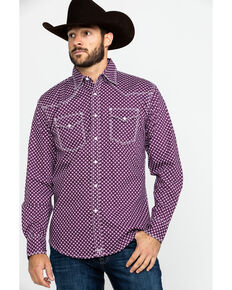 Wrangler 20X Men's Advanced Comfort Diamond Geo Long Sleeve Western Shirt , Black/purple, hi-res
