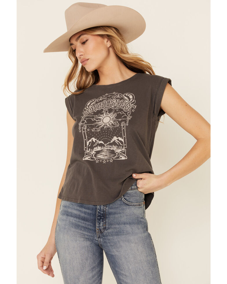 Shyanne Women's Charcoal Southern Sky Graphic Short Sleeve Tee , Charcoal, hi-res