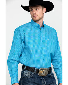 Ariat Men's Scott Stretch Geo Print Long Sleeve Western Shirt , Turquoise, hi-res