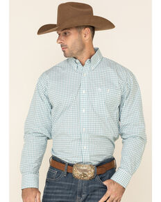 George Strait By Wrangler Men's White Small Plaid Long Sleeve Button-Down Western Shirt , White, hi-res
