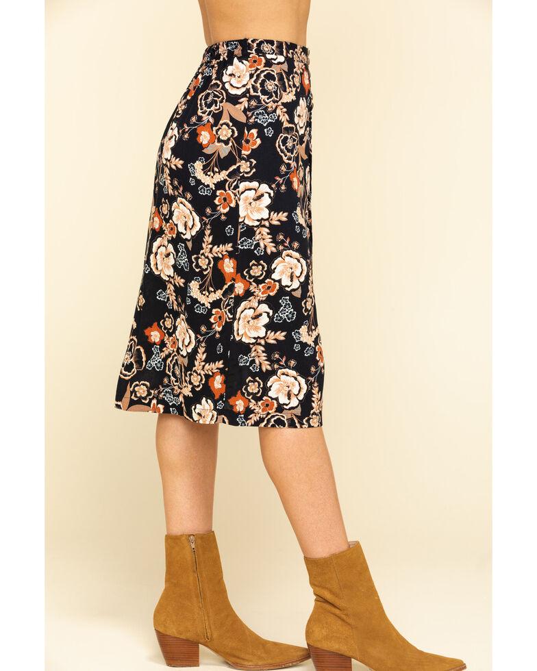 Shyanne Women's Black Boho Floral Print Button Down Midi Skirt, Black, hi-res