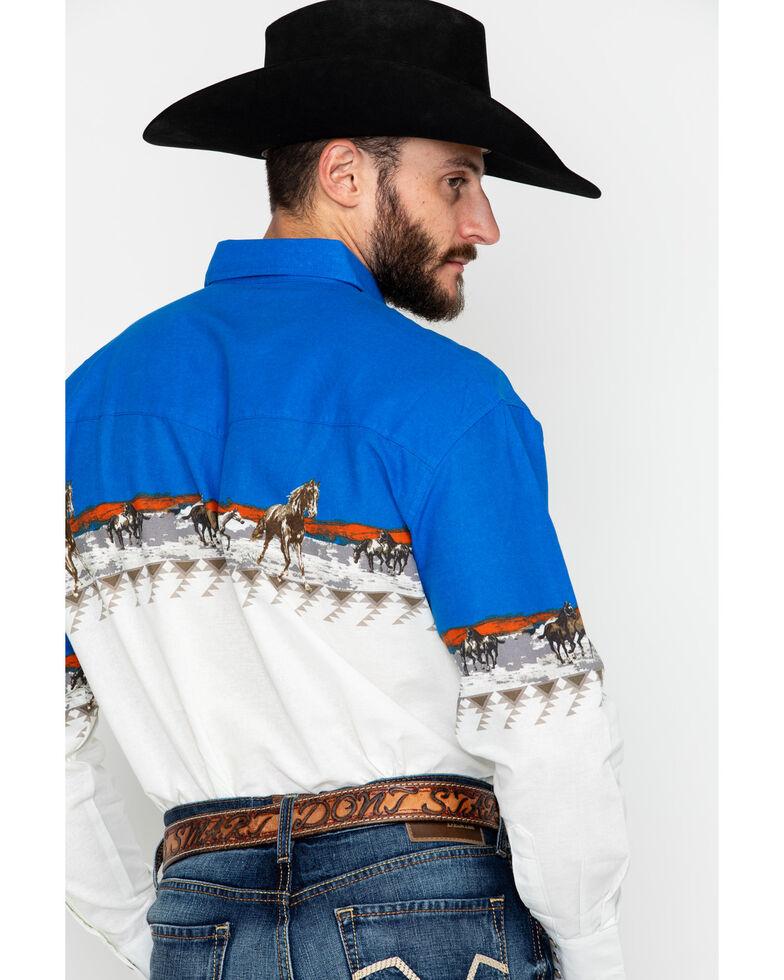 Wrangler Men's Checotah Border Print Long Sleeve Western Shirt, Blue/white, hi-res