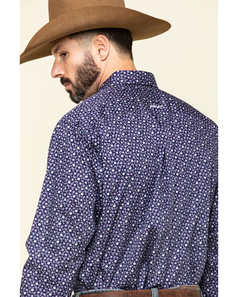 Ariat Men's Wrinkle Free Ulton Paisley Print Short Sleeve Western Shirt - Tall , Navy, hi-res