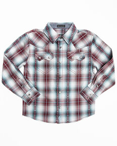 Cody James Toddler Boys' MC' Calister Plaid Long Sleeve Western Shirt , Blue, hi-res